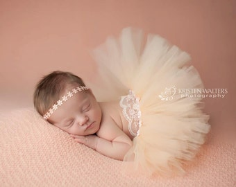 lace tutu set, baby girls photo prop, newborn photography, tulle tutu set with pearls, flower head wrap, flower wrap with pearls, baby girls