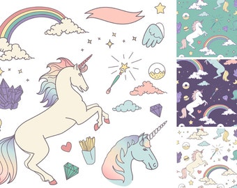 Unicorn Clip Art & digital papers, magical clipart, rainbow, crystals, clouds, stars, invite, diy, baby, Personal and Small Commercial Use.
