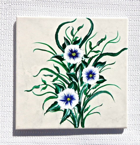 Hand Painted Tile Trivet Spoon Rest With Blue Flowers, Mothers Day Gift, Kitchen Decor, Spoon Rest, Table Protector
