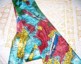 Vintage Steven Harris Men's Tie  - 100% Polyester - Handmade - Airlines Travel - Novelty Tie