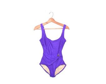 Purple Swimsuit Purple Bathing Suit One Piece Swimsuit Vintage Bathing Suit Womens Swimwear 80s Slimsuit Swimsuit