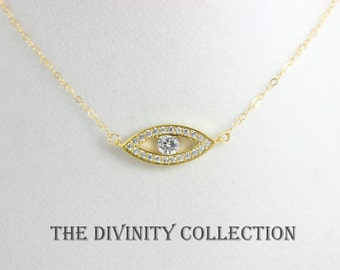 Evil Eye Necklace Crystal Pendant Gold Filled Kabbalah Jewelry Women Hamsa Protection Necklaces