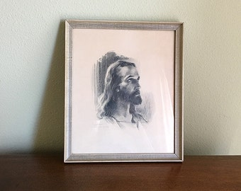 Framed Warner Sallman Print, Head of Christ, 1941, Charcoal, Covenant Book Concern