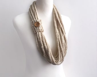 Tan color hand crochet chain Infinity scarf - gift or for you