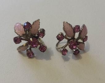 Vintage Pink Flower Rhinestone screw-in Earrings