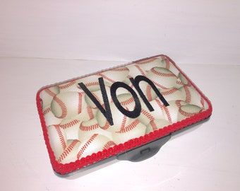 Personalized Pencil Box.  Baseball Print Fabric With Red Trim.  Great Box For So Many Things