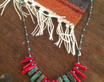 Turquoise necklace, Coral necklace, Boho fashion, Turquoise and Coral, Southwestern necklace, red and turquoise necklace, Free shipping