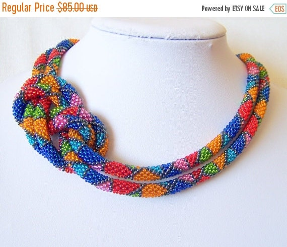 Christmas Sale Long Beaded Crochet Rope Necklace