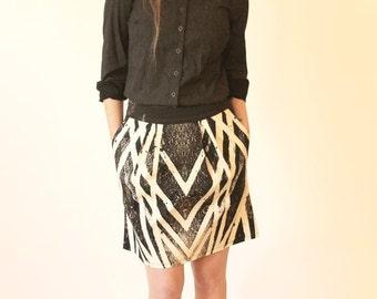 SALE Black and white skirt - Mini skirt - Summer skirt - Skirt with pockets - Cotton skirt - Evening skirt