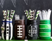 Football Mason Jars - Football Party Mason Jar Set - Painted & Distressed Mason Jars - Super Bowl Party