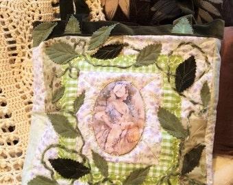 Handmade  Patchwork Messenger Bag with Leaves and Dark Green velvet Straps