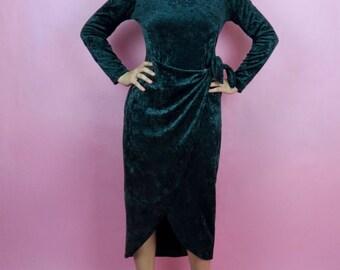 Vintage 90s Green Crush Velvet Mid Length Long Sleeve Wrap Dress Size M, Retro