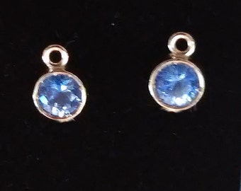 Solid 14k Blue Sapphire Pendant Dangle, Gorgeous Ceylon Blue Sapphire Pendant, Recycled Gold Settings, Bridesmaids Gift, Something Blue