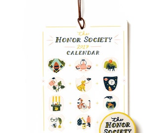"""Honor Society 2017 Calendar with Sew on Patch - 6x8"""" Wall Hung"""