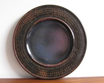 Stig Lindberg Studio Pottery Plate Gustavsberg Brown Blue Purple Starry Night Sky