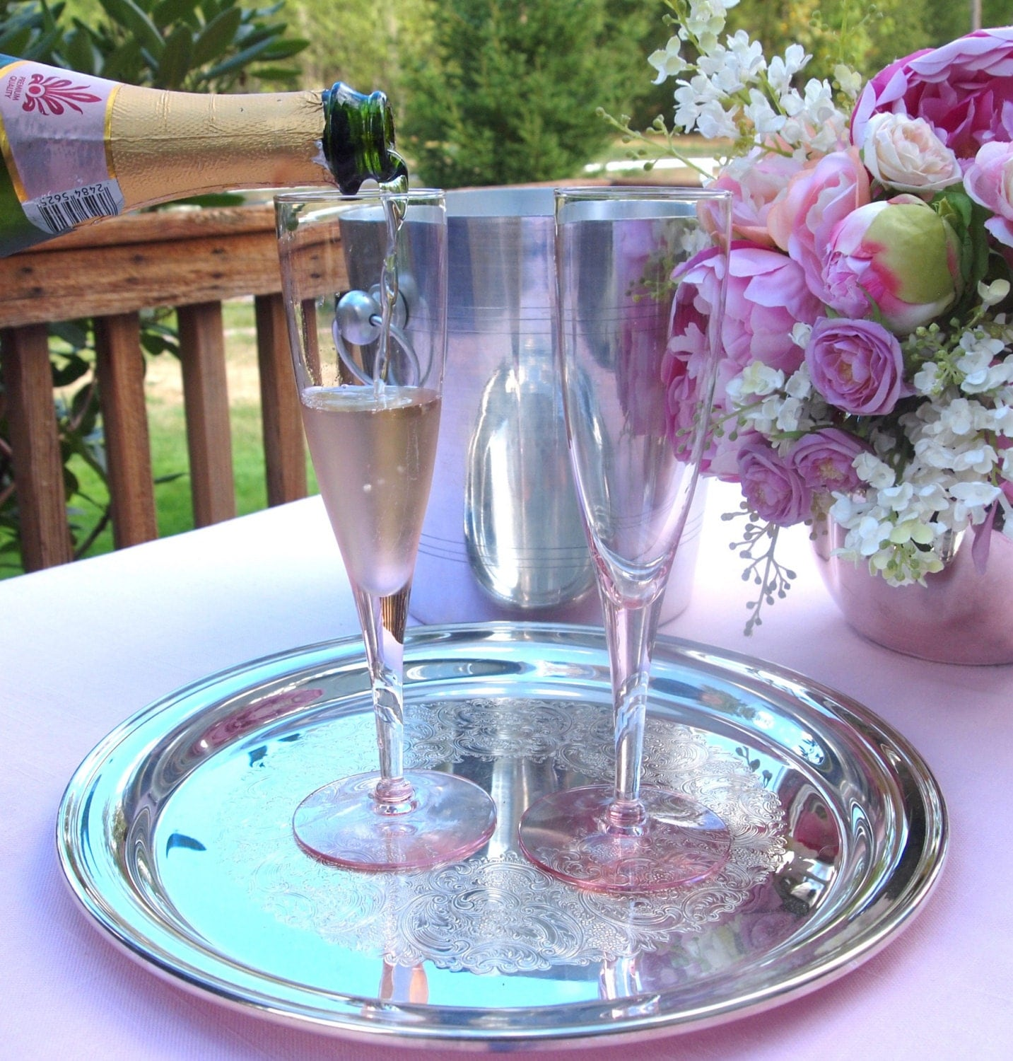Pink Champagne Glasses Wedding Toasting Glasses Flutes Pair