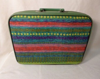 Green Tribal Design Mini Suitcase Laptop Bag Travel Case Lock and Key Vintage Vinyl and Fabric Luggage Retro Mid Century Modern
