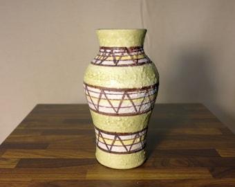 Green Italian Pottery Vase with Geometric Trangle Band Pattern Lava Glaze Made in Italy Mid Century Modern