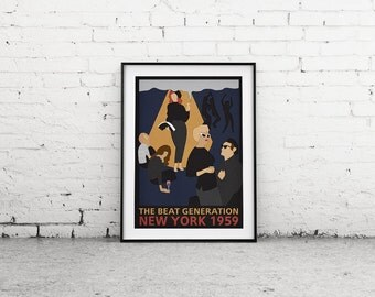 "Printable Art ""Beat Generation, Beatnik Art Print, New York Poster, Wall Art Print"