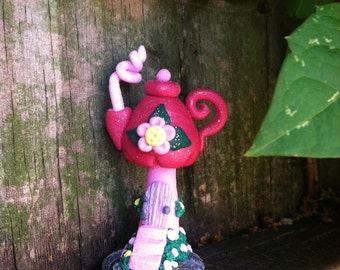 Pink Teapot Fairy House in polymer clay by PinkChihuahuaCrafts
