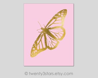 Butterfly Canvas or Art Print, Gold Foil Monarch Butterfly, Choose Any Colors, Real Foil Butterfly, Silver Monarch Butterfly Canvas Art
