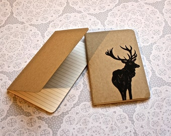 Stag note book | Moleskine | Cahier Journal | Lined pages | Lino print | Handmade | Pocket size |