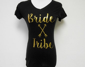 Bride Tribe T-Shirt, Bride's Tribe T-Shirt, Bride Tribe Tee, Bride Tribe V-Neck, Gold Glitter Bride Tribe Shirts, Bachelorette T-Shirts
