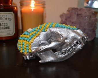 Beaded REAL Raccoon Skull
