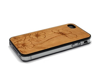 iPhone 4 Case Wood Flowers iPhone 4S Case Wood iPhone 4 Case iPhone 4 Case Wood, iPhone 4 Wood Case, iPhone 4S Wood