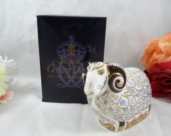 """Rare Royal Crown Derby Visitors Center English Bone China """"Premier Ram"""" First Quality Paperweight Figurine with Original Box and Certificate"""