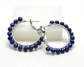 """Genuine Lapis Hoop Earrings - Sterling Silver Wire Wrapped Hoops - Royal Blue Gemstone, Silver Plated Hoops (20mm, Beaded 1"""")"""