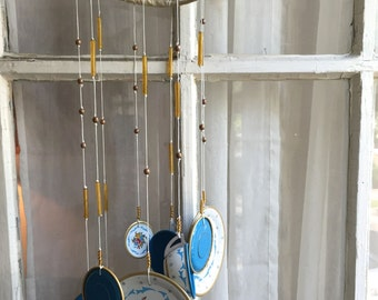 It's Tea Chime!, Tea Party Chimes, Tea Cup Plate, Tea Chimes, Child's Tea Set, Blue Gold Chimes, Shabby Chic Chimes, Porch Chimes, Tin Litho