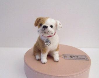Needle felted Cute Bulldog Puppy