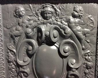 GREAT Victorian Cast Iron Fireback from mansion fireplace
