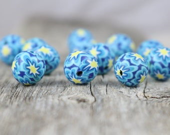 Vintage Polymer Beads - Navy, Blue, Yellow - approx. 11mm - 12 beads