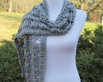 Crocheted Gray / Grey Heather Scarf /Lacy / Fringed