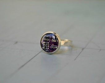 Gothic Circuit Board Purple Ring - Dark Beauty Steampunk Jewelry - Electronic Computer Geekery 925 Sterling Silver Ring