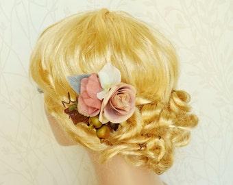 Floral hair clip, Bridal hair clip, Wedding hair clip, Bridal headpiece, Peach pink flower hair clip, Wedding headpiece, Dusty pink clip
