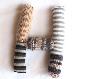 Knitted letter H, alphabet, sock letter H, initial letter, nursery art, alphabet sock toy