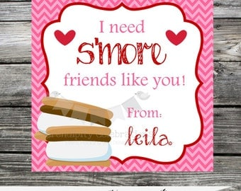 DIY Printable Favor Tags -Valentine's Day -Thank You Tag -Sticker -holiday -valentine smores -school tag -classroom treat -you print