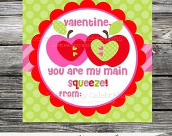 DIY Valentine Tags, Valentine Favors, Valentine's Day, Valentine DIY Stickers, Applesauce Tags, Classroom Treat, Instant Download