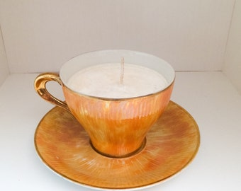 Vintage Tea Cup Candle *Made with UNSCENTED SOY WAX*