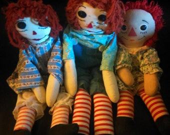 2 Raggedy Ann & 1 Andy Dolls