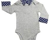 Baby Boy Onesie with Collar 3 Months - Gray - Navy Gingham Faux Collar - Baby Boy - Dressy Onesie