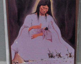 "OGLALA SIOUX  ART Christmas Cards - 20 cards -  Title of Card: ""Wiconi Wicaku"" Artist- Daniel Long Soldier, Oglala Sioux"