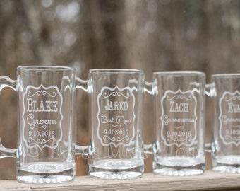 Custom Etched Beer Mug Groom Groomsmen Wedding Party