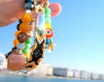 Unique Yoga Bracelets. Handwoven Aztec style Friendship Bracelet and 2 OOAK Beaded Bracelet. Set of 3