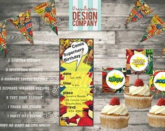 Comic Superhero Toppers, Tent Cards, & Favor Box {INSTANT DOWNLOAD}