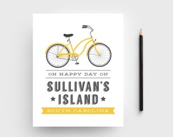 8x10 Sullivan's Island / Charleston Bicycle Typographic Print