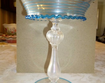 Brilliant sky blue elevated bowl with hollow stem - for collector or display - eye catching color and wonderful form